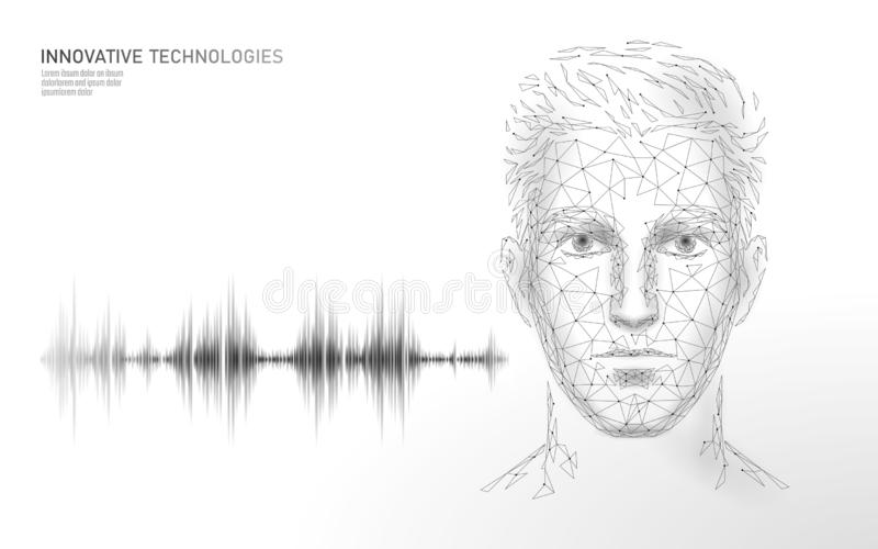 Virtuelle behilfliche Spracherkennungsservice-Technologie Roboterunterst?tzung k?nstlicher Intelligenz AI M?nnliches Manngesicht  stock abbildung