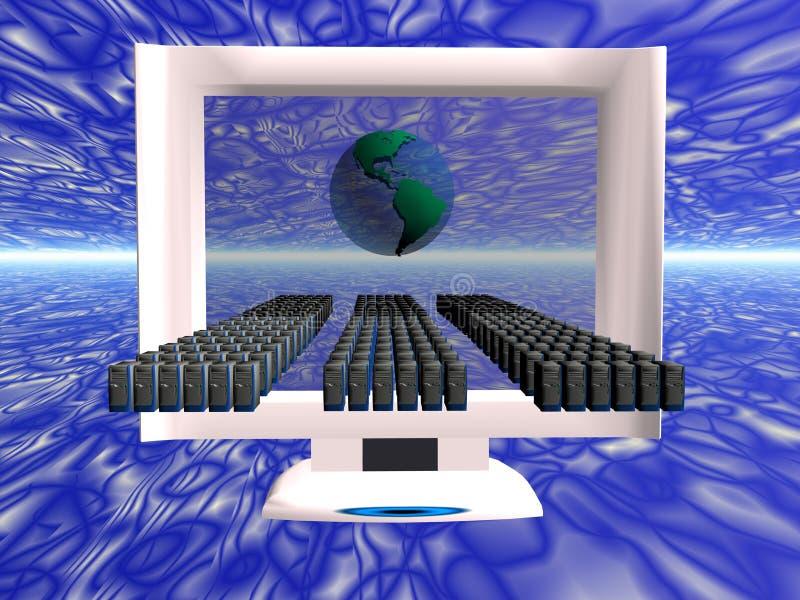 Virtuelle Computervirusverbreitung. stock abbildung