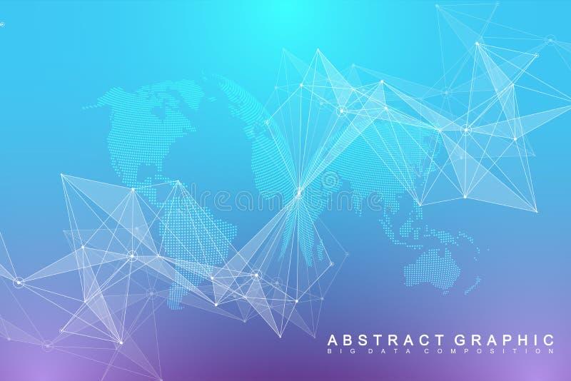 Virtuelle grafische Hintergrund-Kommunikation mit Weltkugel Eine Richtung des Wissenschaft und Technik Digital-Daten-Sichtbarmach stock abbildung