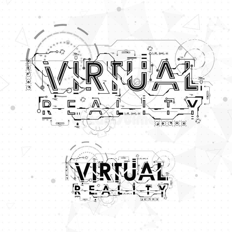 Virtuelle Realität Beschriftung mit futuristischen Benutzerschnittstellenelementen lizenzfreie abbildung