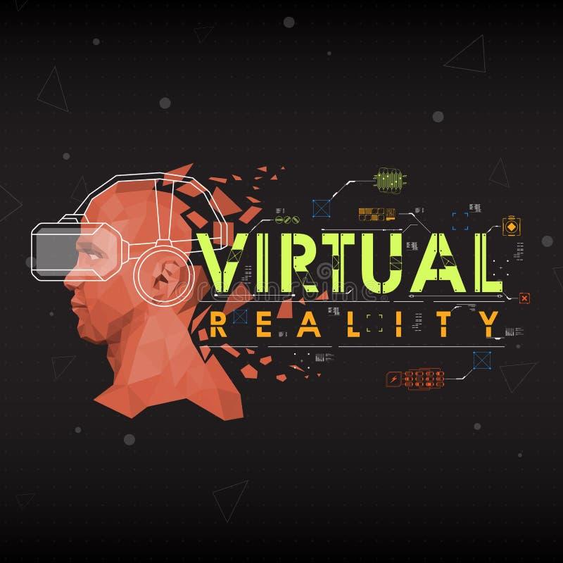 Virtuelle Realität Beschriftung mit futuristischen Benutzerschnittstellenelementen stock abbildung