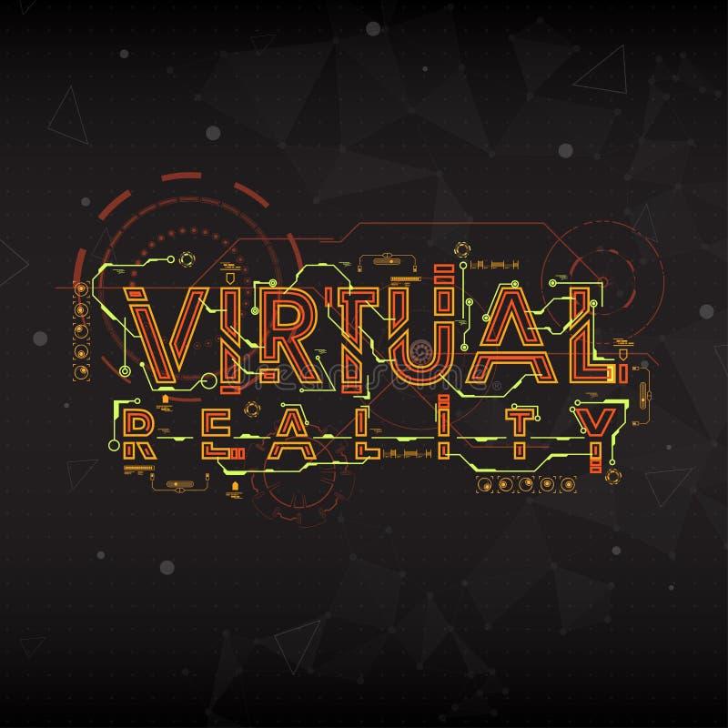 Virtuelle Realität Beschriftung mit futuristischen Benutzerschnittstellenelementen vektor abbildung