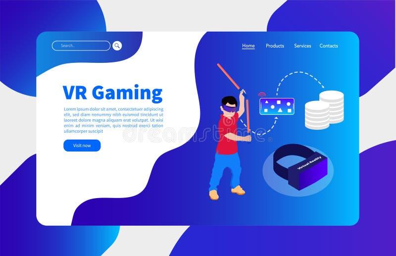 Virtuelle Realität und Wolkenspielfahnenschablone lizenzfreie abbildung