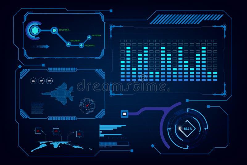Virtuelle Schablone der künstlichen Intelligenz Hud GUI-Schnittstelle stock abbildung