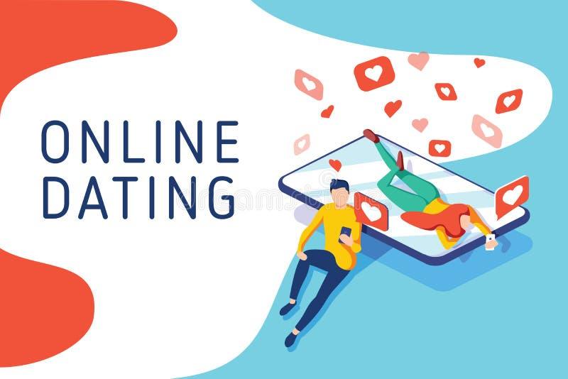 Virtuelle Verhältnisse, on-line-Datierung und Social Networking-Konzept, Jugendliche, die im Internet, Vektor isometrisch plauder lizenzfreie abbildung