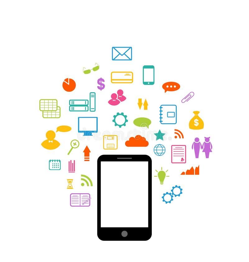 Virtuelle Welt mit Smartphone, stellte infographic Element ein lizenzfreie abbildung
