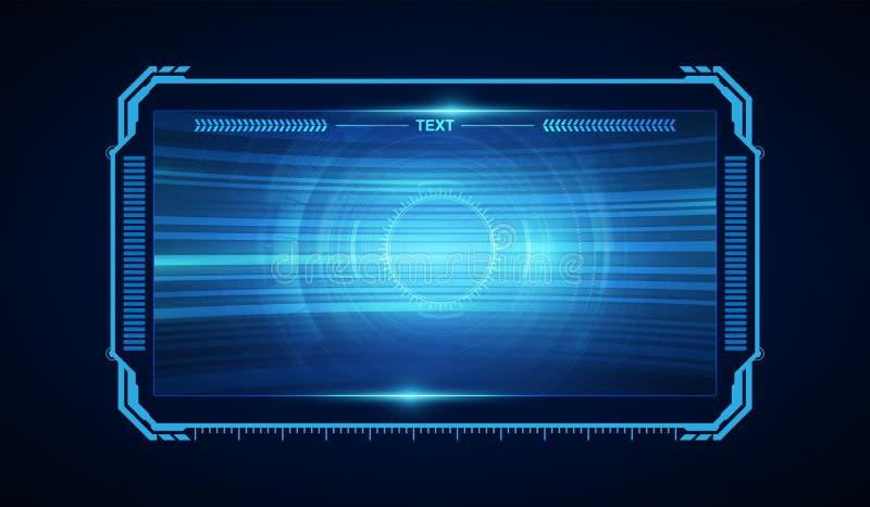 Virtueller Entwurf des abstrakten zukünftigen futuristischen Schirm-Systems hud ui GUI lizenzfreie abbildung