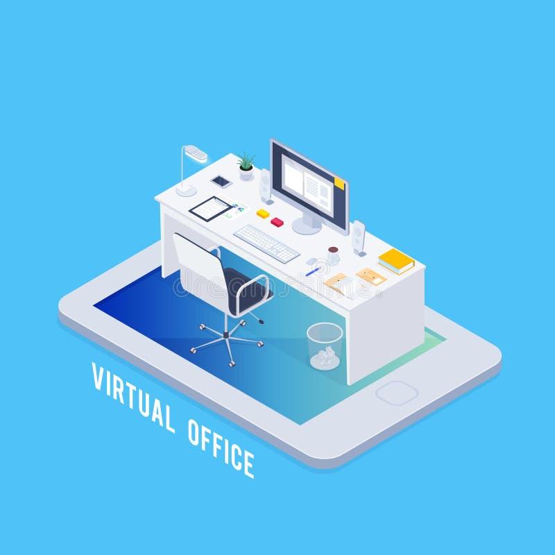 Virtuelles Büro des isometrischen Konzeptes vektor abbildung