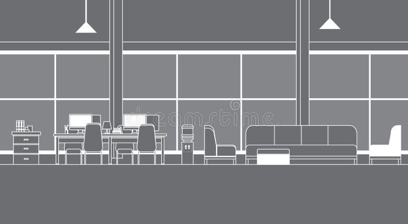 Virtuelles Büro-Innenraum mit Schreibtische Coworking-Raum-dünner Linie Vr-Technologie vektor abbildung