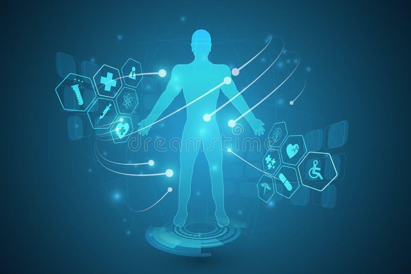 Virtuelles innovat Gesundheitswesen des zukünftigen Systems des Hologramms Hud-Schnittstelle stock abbildung