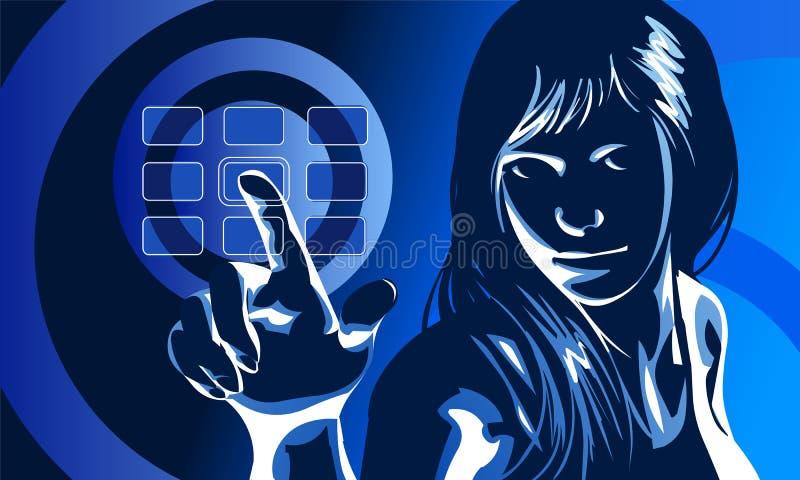 Virtuelles Mädchen-Blau lizenzfreie abbildung