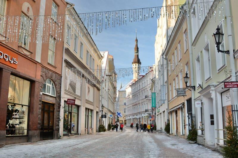 Viru gata på vintern tallinn estonia royaltyfria foton