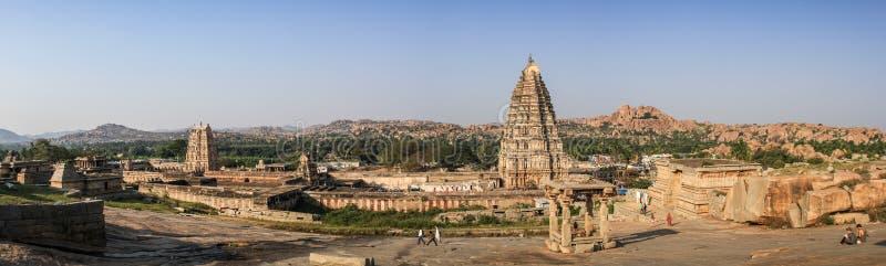 Virupaksha寺庙的全景,亨比,卡纳塔克邦,印度 库存图片