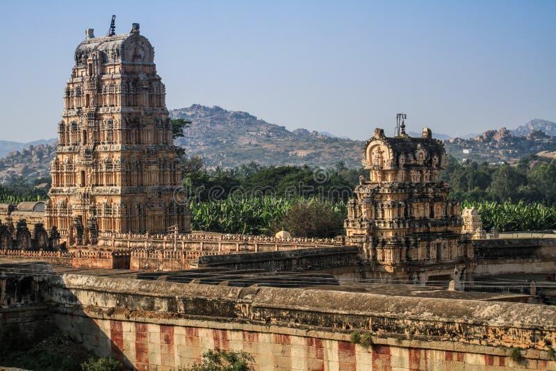Virupaksha寺庙,亨比,卡纳塔克邦,印度 免版税库存图片