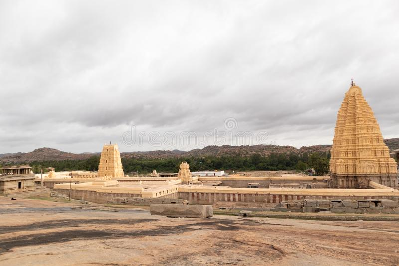 Virupaksha hindu temple Gopuram captured from Hemakuta Hill stock images