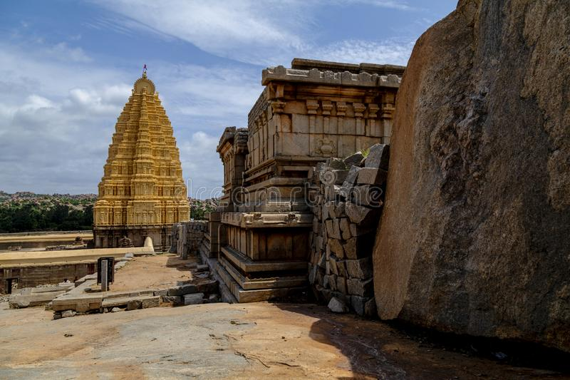 Virupaksha Temple in Hampi India.Virupaksha Temple is located in Hampi in Bellary district of Karnataka state.  royalty free stock photo