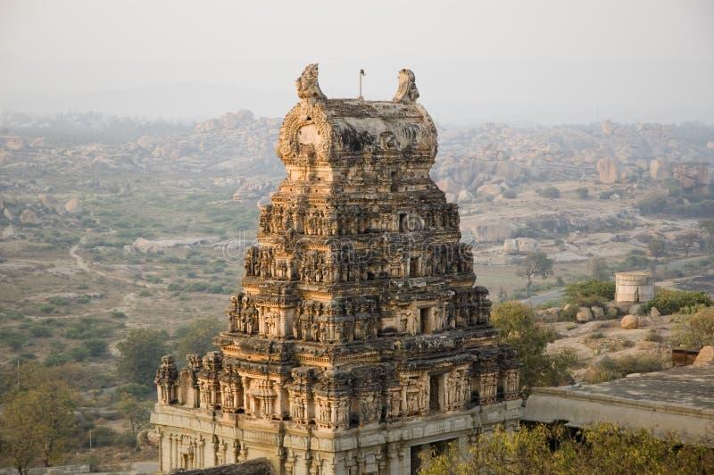 Virupaksha temple view from Hemakuta hill at sunrise in Hampi, Karnataka, India royalty free stock photography