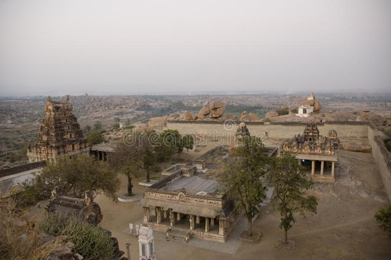 Virupaksha temple view from Hemakuta hill at sunrise in Hampi, Karnataka, India stock images