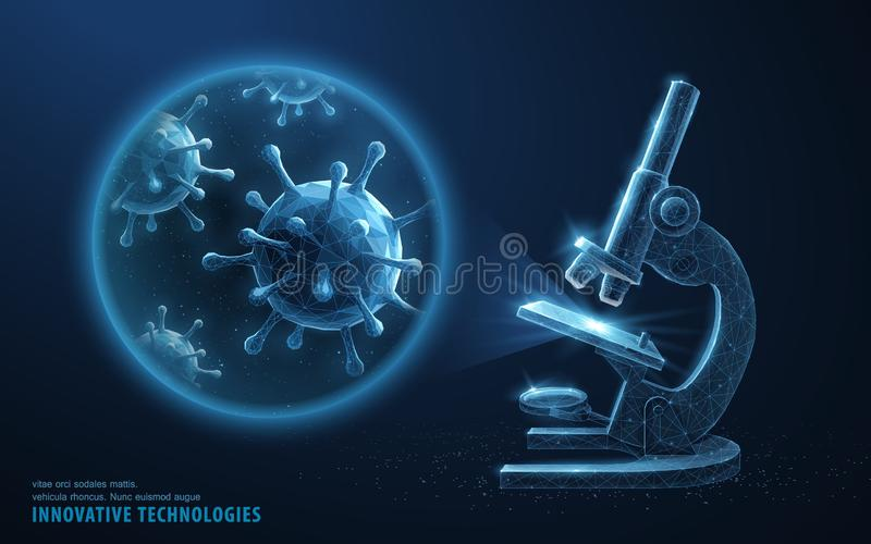 Virus. Abstract 3d microbe in microscope zoom lens. Allergy bacteria, medical healthcare, microbiology, lab cancer stock illustration