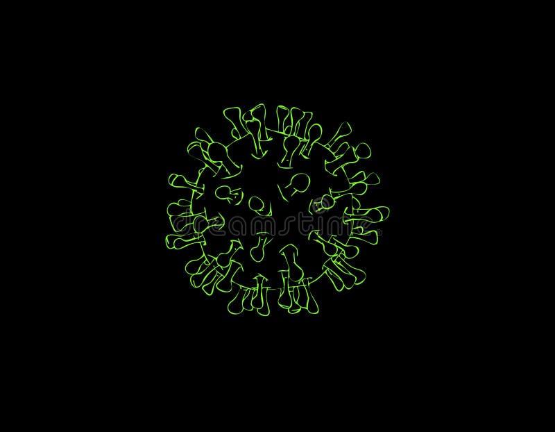virus Aislado en fondo negro Ejemplo del esquema del vector stock de ilustración