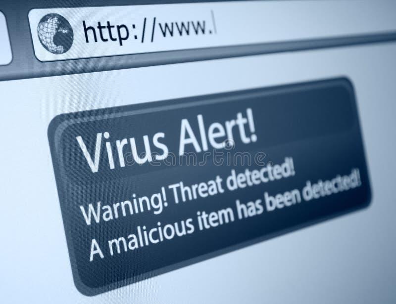 Virus Alert. Closeup of Virus Alert Sign in Internet Browser on LCD Screen
