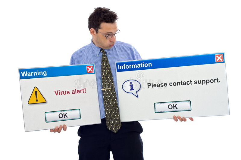 Virus alert. ! You have to contact support royalty free stock image