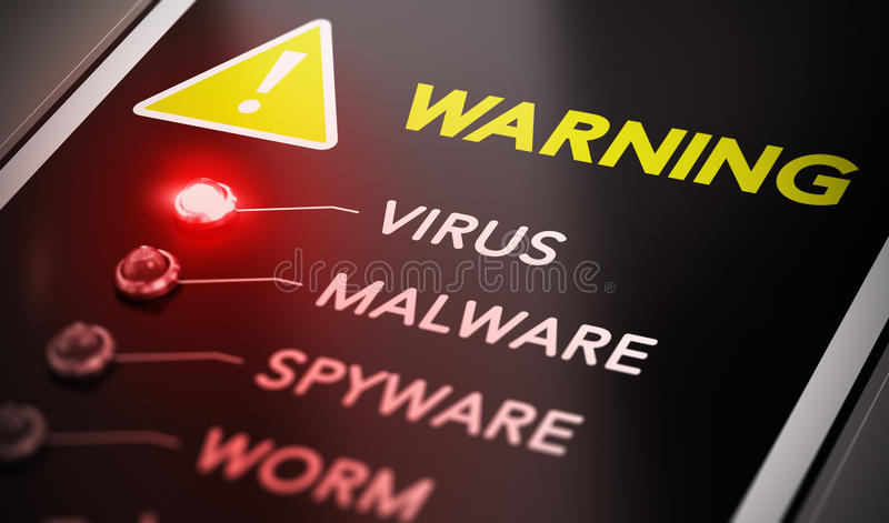 Virus Alert. Virus attack concept. Control panel with red light and warning. Conceptual image symbol of computer infection royalty free illustration