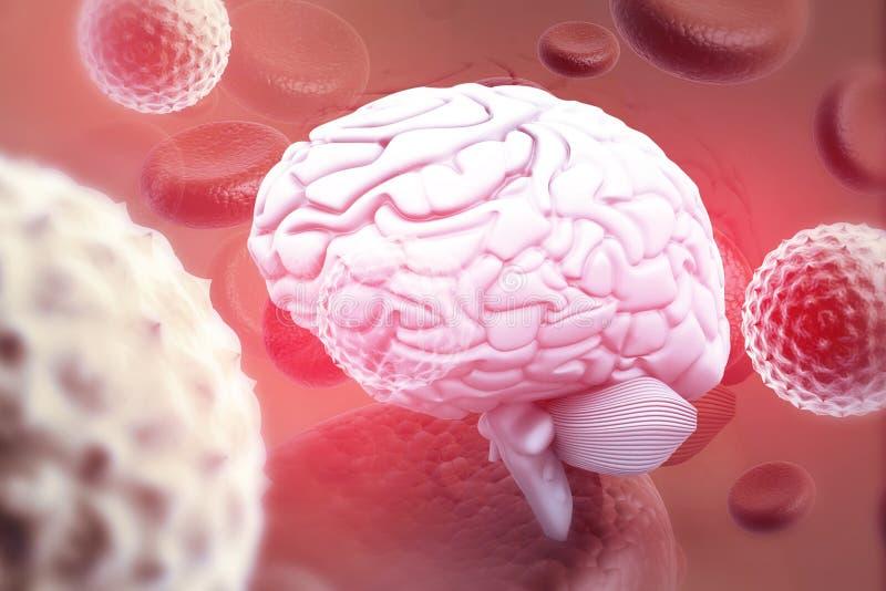 Virus attacking human brain royalty free illustration