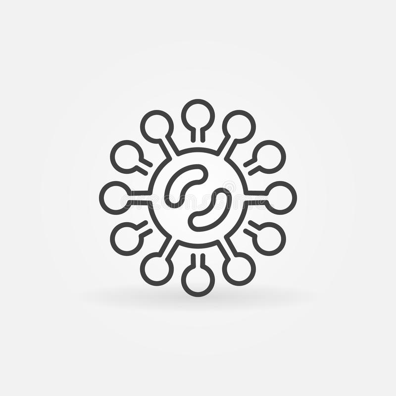 Virus or bacteria vector icon in thin line style. Virus or bacteria vector icon or symbol in thin line style vector illustration