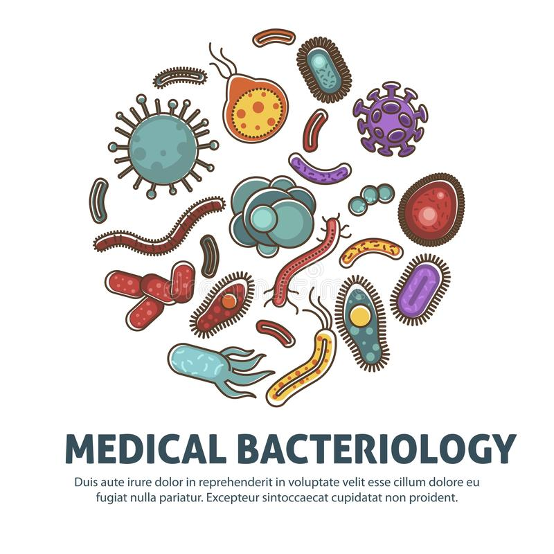 Virus, batteri e manifesto dei microbi per lo studio di biologia o il concetto medico di sanità royalty illustrazione gratis