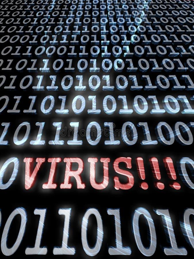 Virus in the binary code stock illustration