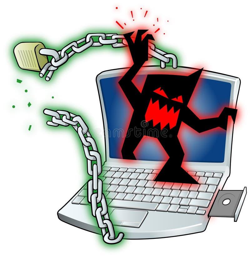 Virus cassant le degré de sécurité d'ordinateur portatif illustration libre de droits