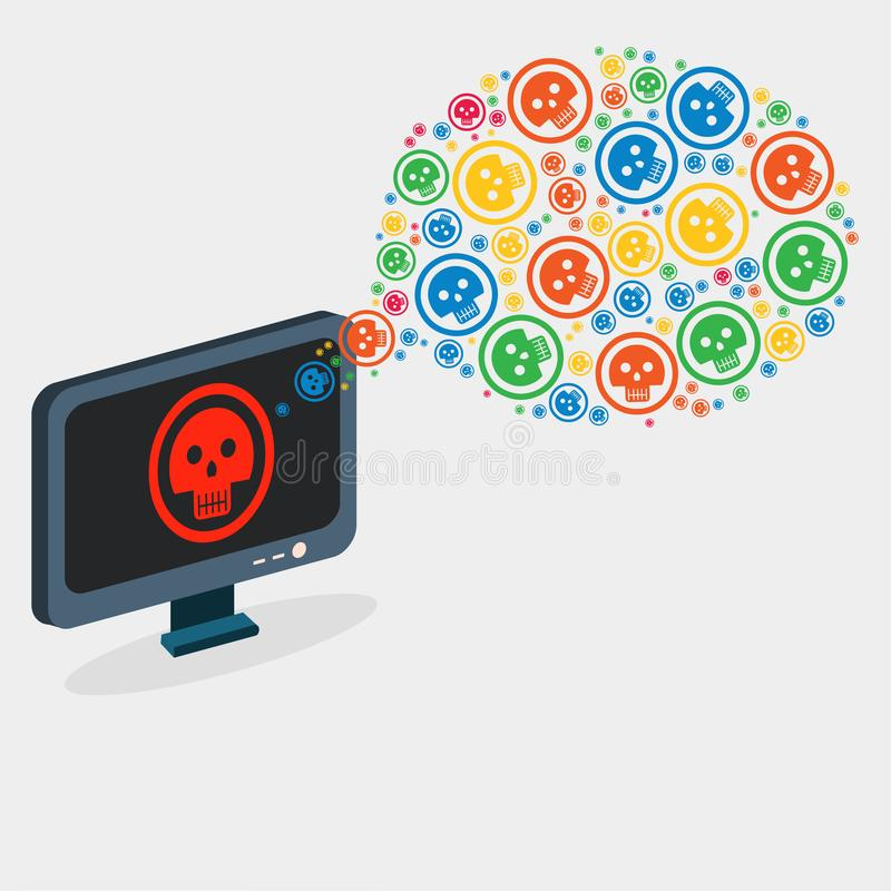 Virus computer infection concept vector illustration royalty free illustration
