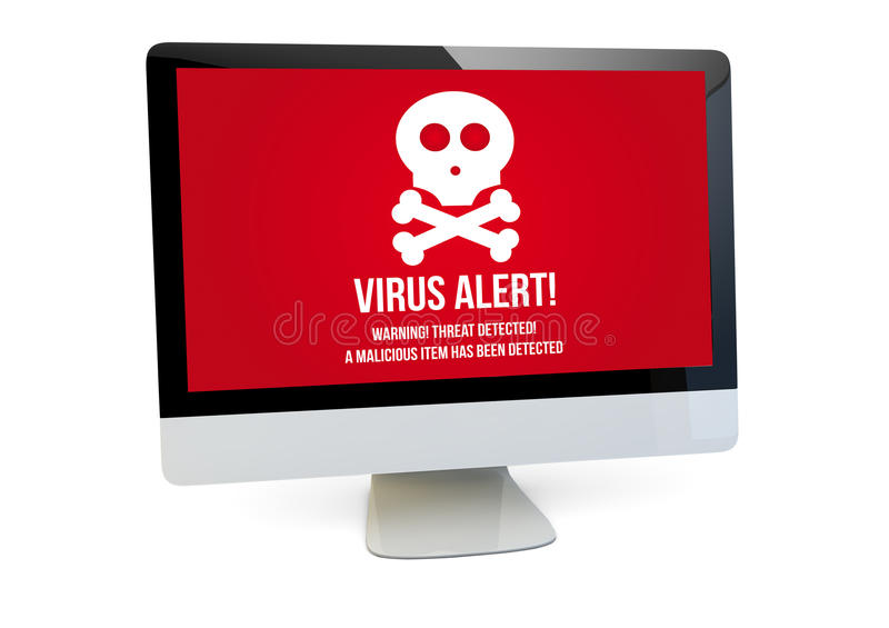 Virus computer. Modern security concept: render of a computer with virus alert on the screen royalty free illustration