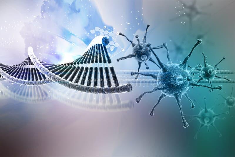 Virus con la estructura de la DNA stock de ilustración