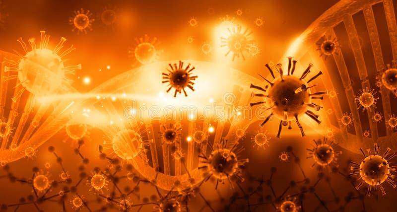 Virus con las moléculas de la DNA stock de ilustración
