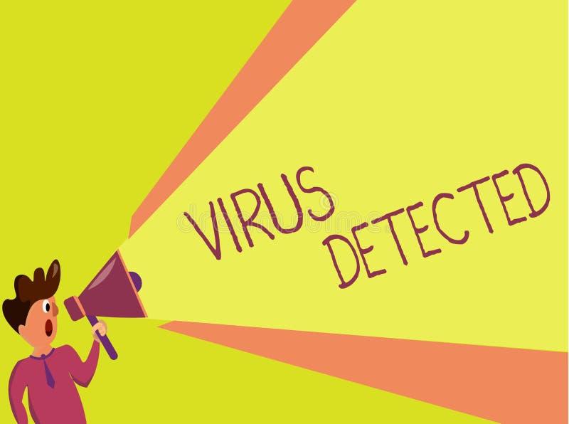 Virus d'écriture des textes d'écriture détecté Concept signifiant le programme informatique d'A employé pour empêcher et enlever  photos libres de droits