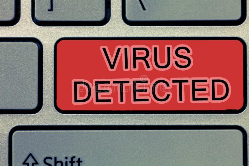 Virus d'écriture des textes d'écriture détecté Concept signifiant le programme informatique d'A employé pour empêcher et enlever  photos stock