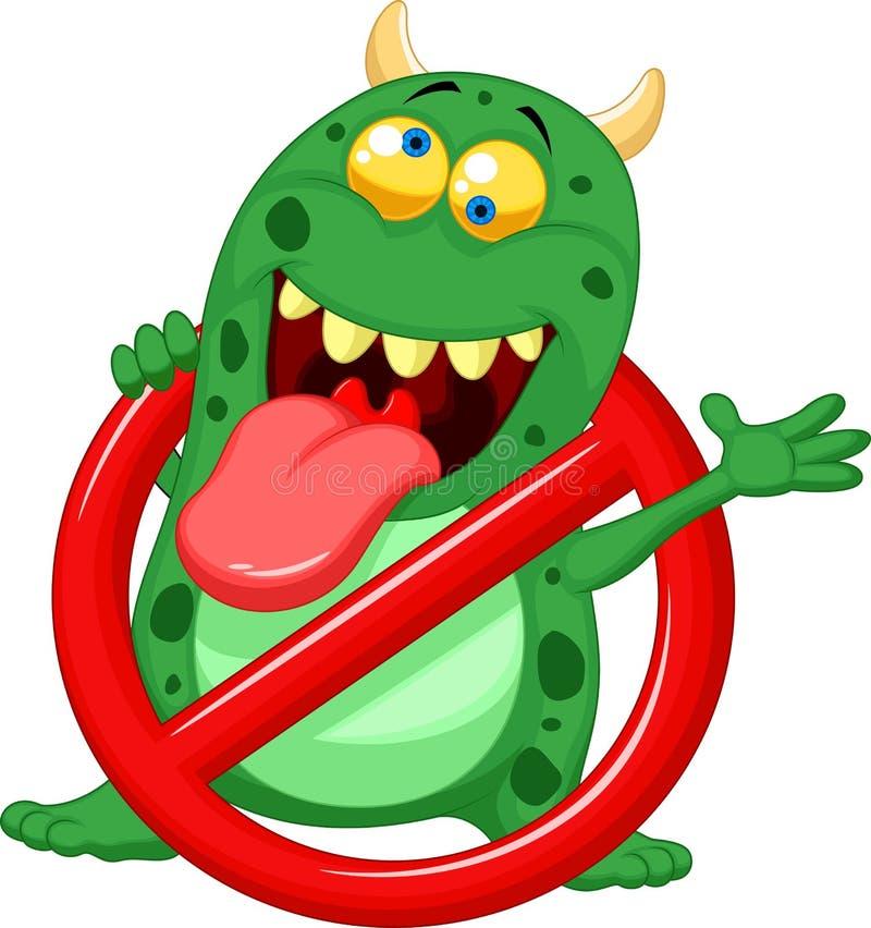 Virus d'arrêt de bande dessinée - virus vert dans le signe d'alerte rouge illustration de vecteur