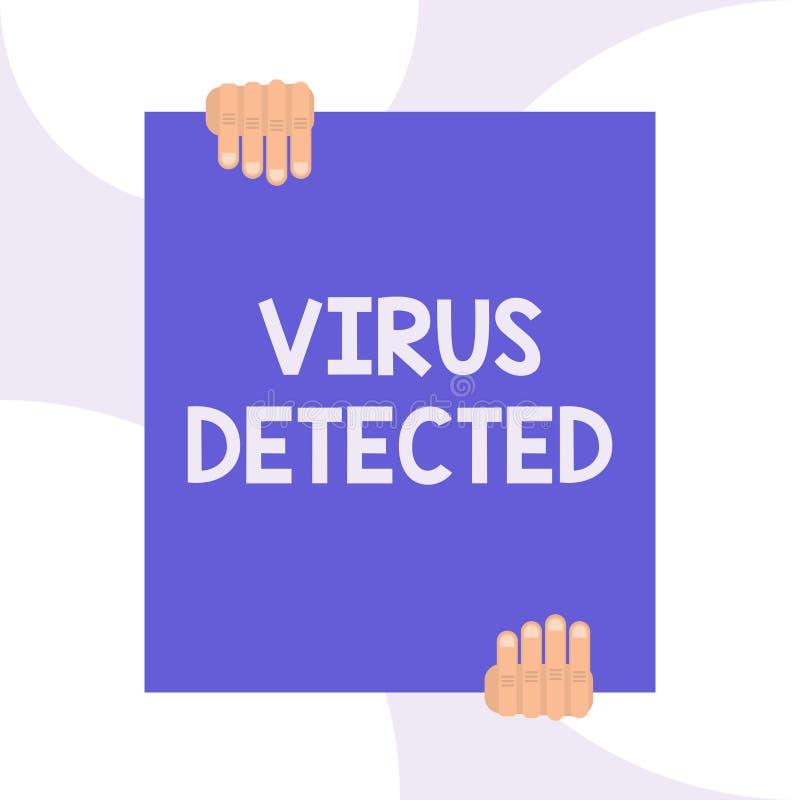 Virus d'?criture des textes d'?criture d?tect? Concept signifiant un programme informatique employé pour empêcher et enlever des  illustration stock