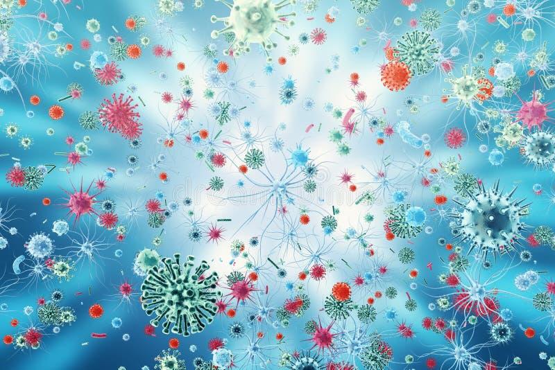 Virus de gripe H1N1 La gripe de cerdos, infecta el organismo, epidemia viral de la enfermedad representación 3d stock de ilustración