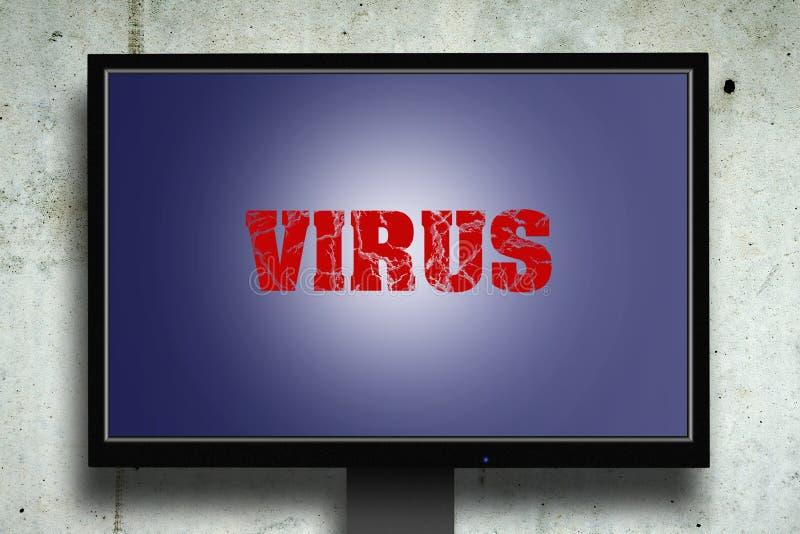 virus De inschrijving op de monitor Grijze concrete achtergrond technologieën royalty-vrije stock afbeelding