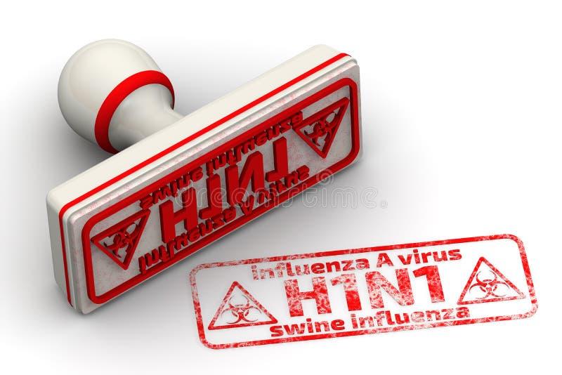 Virus de la grippe A (H1N1) Grippe de porcs Joint et empreinte illustration libre de droits