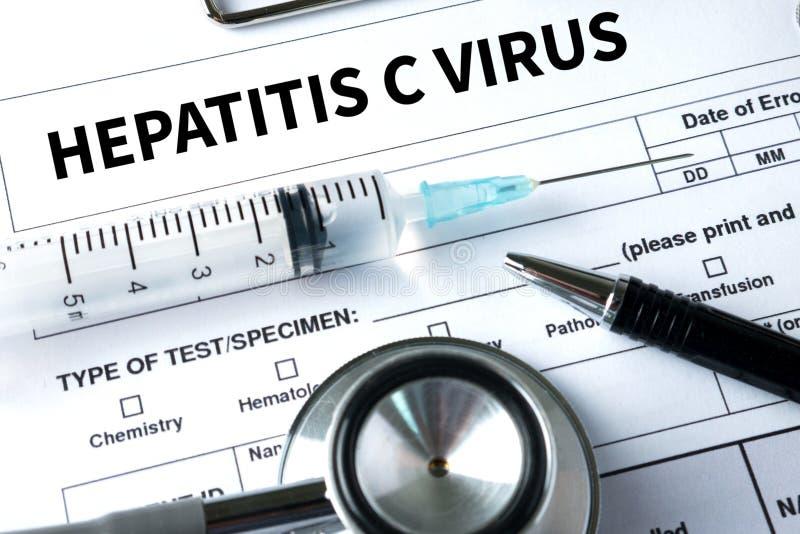 VIRUS DE LA HEPATITIS C, HCV Informe médico, virus de la hepatitis C (HCV foto de archivo libre de regalías