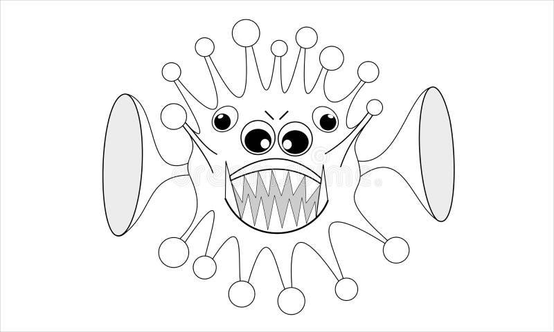 Virus de ordenador con cuatro ojos y dos oídos grandes, ejemplo de la historieta stock de ilustración