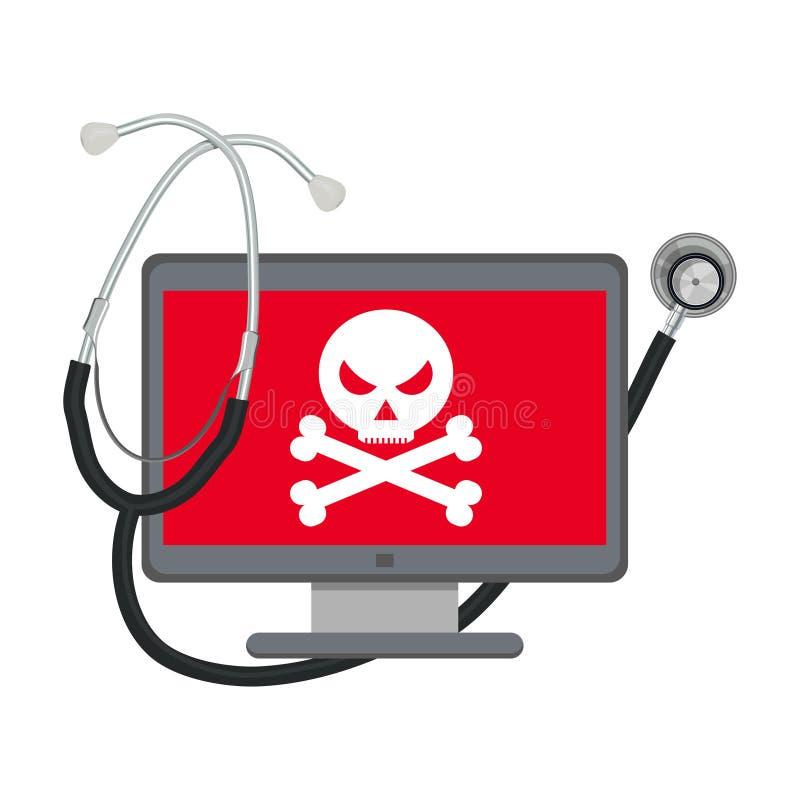 Virus del omputer del ¡de Ð Ordenador de destrucción del virus stock de ilustración