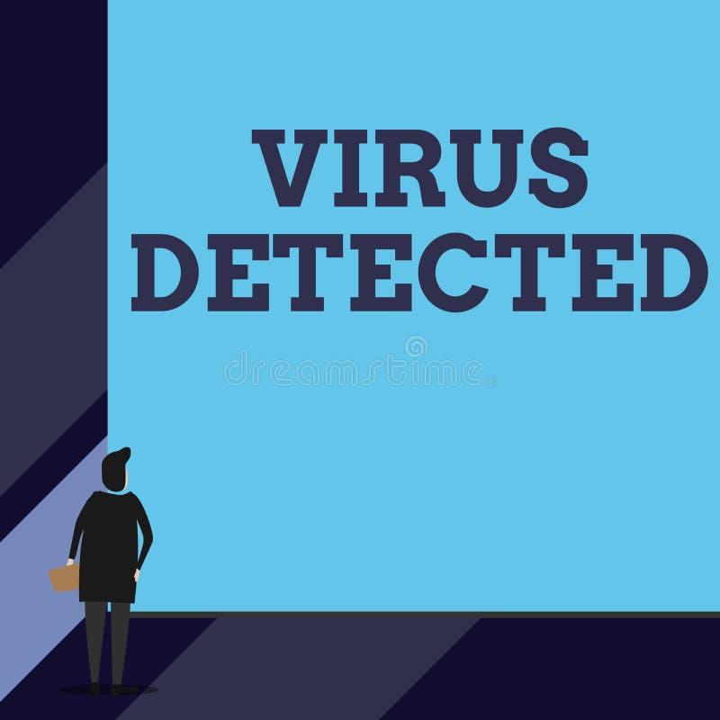 Virus des textes d'?criture d?tect? Le concept signifiant un programme informatique employé pour empêcher et enlever le malware d illustration de vecteur