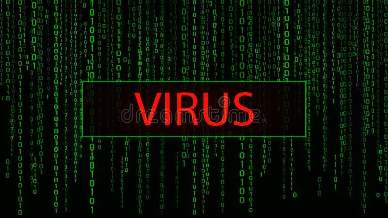 Virus di calcolatore Attacco cyber incisione Matrice verde del fondo di Digital Codice macchina binario Illustrazione di vettore royalty illustrazione gratis