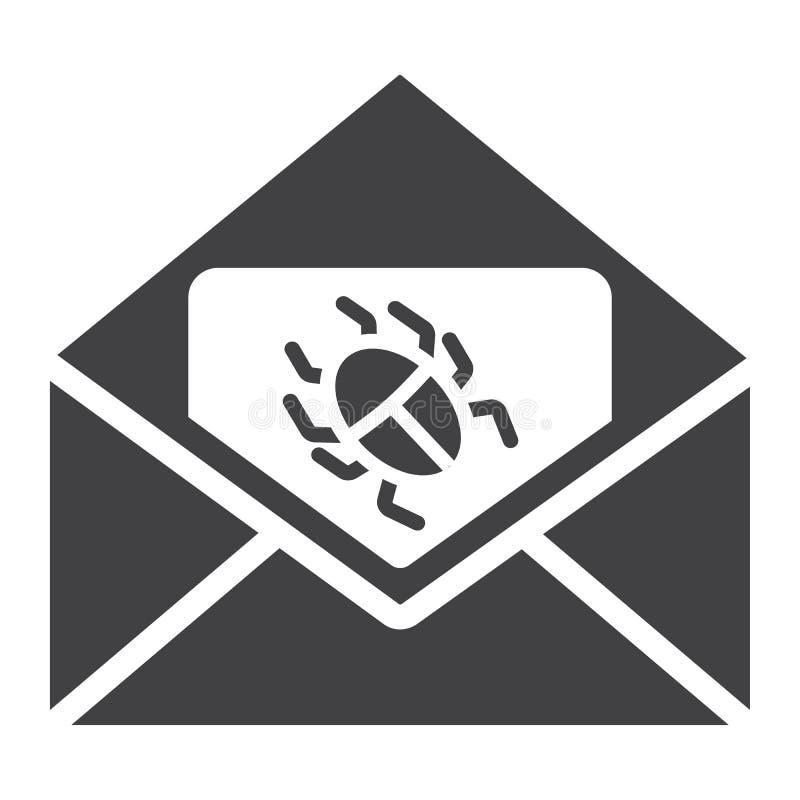 Virus in e-mail stevig pictogram, spam en veiligheid stock illustratie