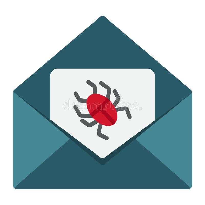 Virus in email flat icon, spam and security stock illustration